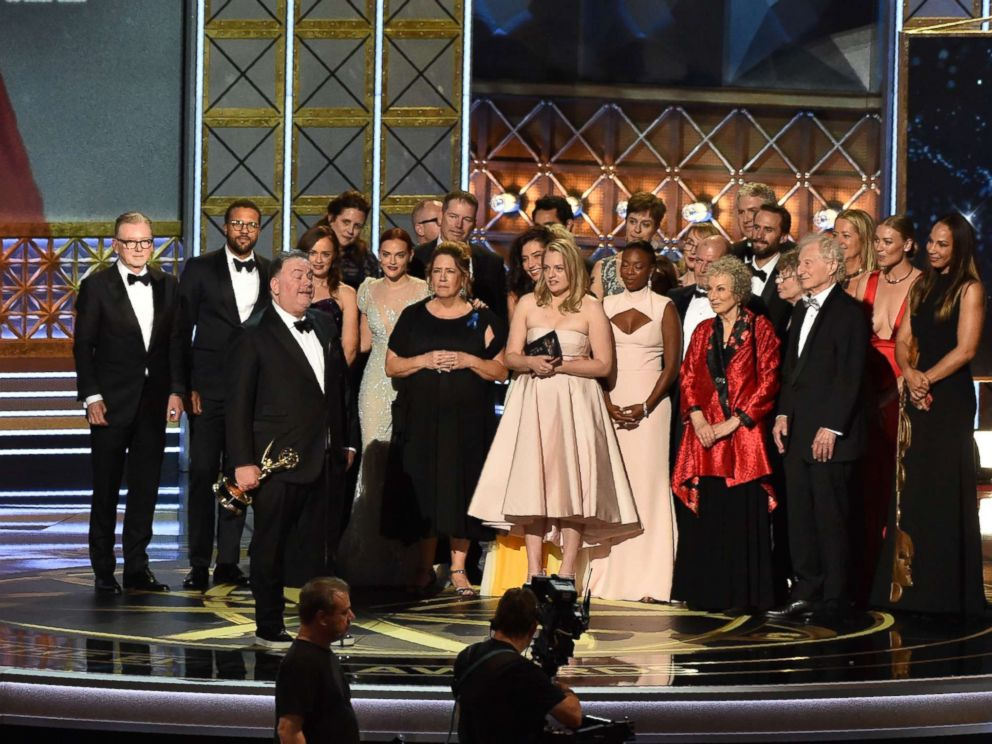 PHOTO: The cast and crew of The Handmaids Tale accept the award for Outstanding Drama Series for The Handmaids Tale onstage during the 69th Emmy Awards at the Microsoft Theatre on Sept. 17, 2017 in Los Angeles.