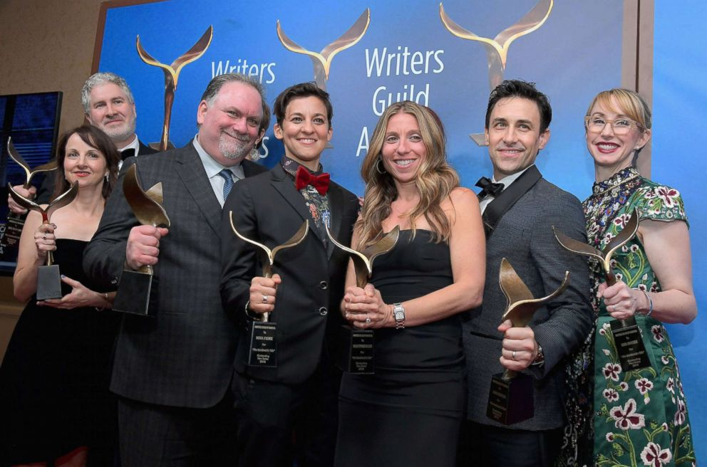 PHOTO: Writer-producer Bruce Miller and the writers of The Handmaids Tale, winners of the Drama Series award, pose during the 2018 Writers Guild Awards L.A. Ceremony Feb. 11, 2018 in Beverly Hills.