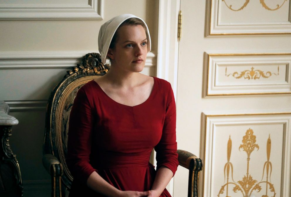PHOTO: This image released by Hulu shows Elisabeth Moss as Offred in a scene from, The Handmaids Tale,.