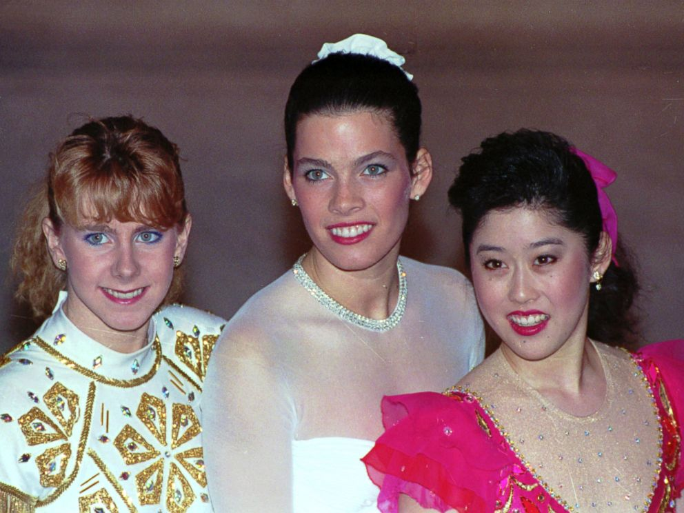 PHOTO: Tonya Harding, Nancy Kerrigan, and Kristi Yamaguchi from the U.S. Skating Team, womens singles, shown at the 1992 U.S. Figure Skating Championships in Orlando, Fla.