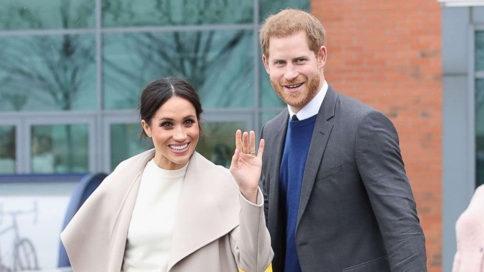 Meghan Markle and Prince Harry depart from Catalyst Inc, Northern Ireland's next generation science park, March 23, 2018, in Belfast, Northern Ireland.