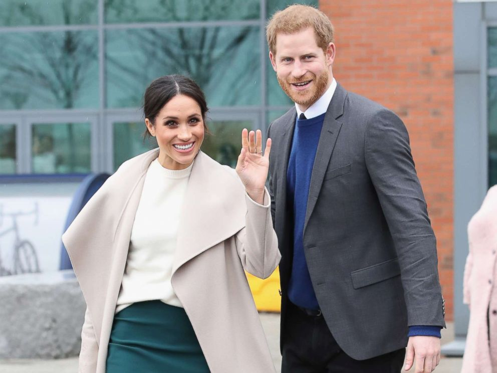 PHOTO: Meghan Markle and Prince Harry depart from Catalyst Inc, Northern Irelands next generation science park, March 23, 2018, in Belfast, Northern Ireland.