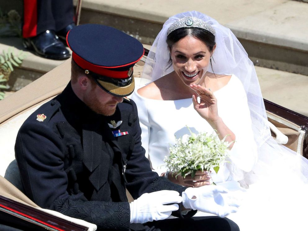 PHOTO: Prince Harry and Meghan Markle leave St Georges Chapel in Windsor Castle after their wedding in Windsor, Britain, May 19, 2018.