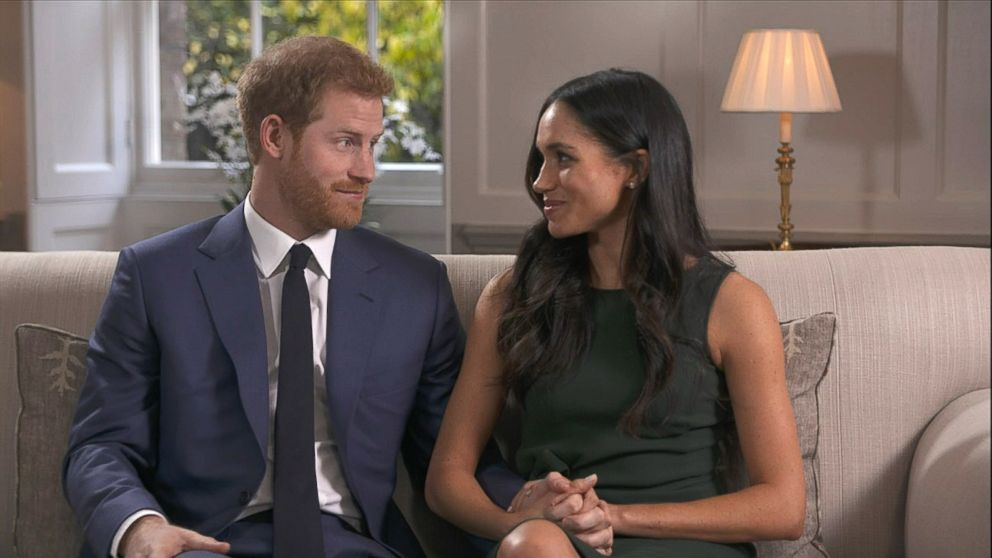 Britain's Prince Harry and his fiancee, U.S. actress Meghan Markle give their first interview following their engagement, Nov. 27, 2017.
