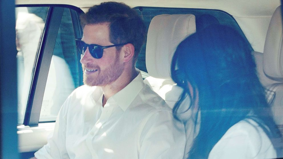 Prince Harry and Meghan Markle during the royal wedding rehearsal in Windsor, England, May 17, 2018.