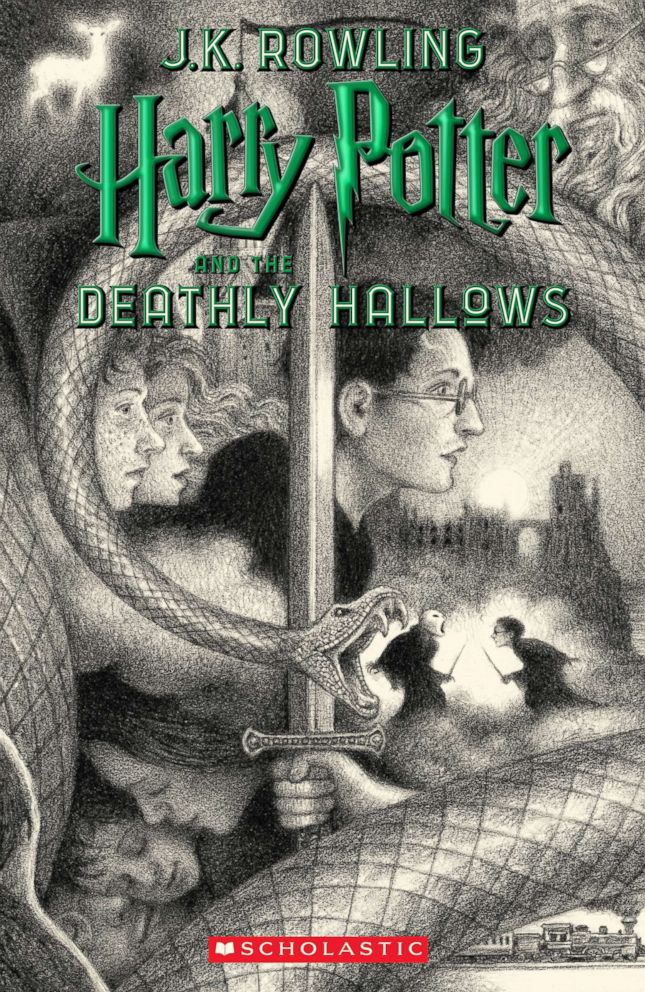 PHOTO: Scholastics new book cover for Harry Potter and the Deathly Hallows, featuring art by Brian Selznick, is pictured here.