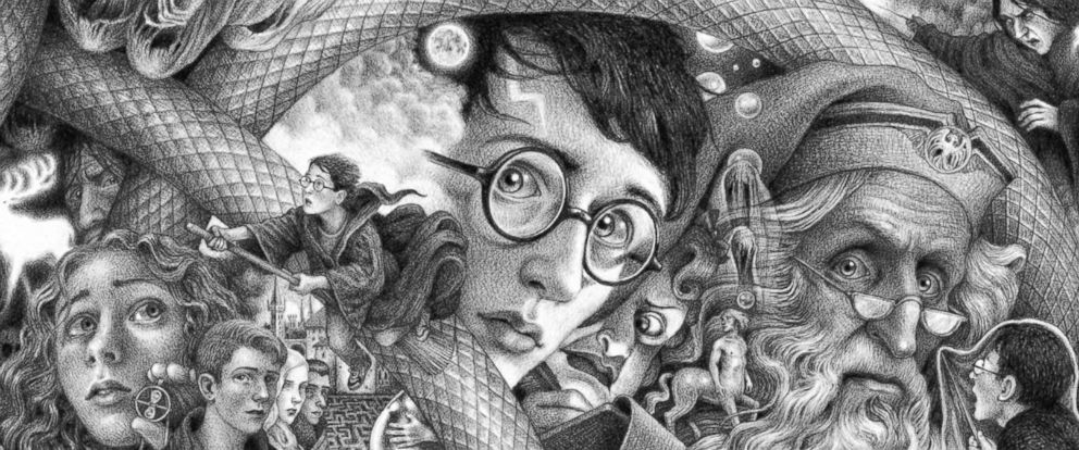 PHOTO: Scholastics new book covers for J.K. Rowlings Harry Potter series feature thrilling moments and beloved characters from across the series captured in art by Brian Selznick.