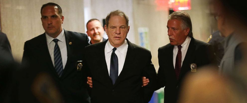 PHOTO: Harvey Weinstein is escorted in handcuffs into State Supreme Court for an arraignment July 9, 2018 in New York.