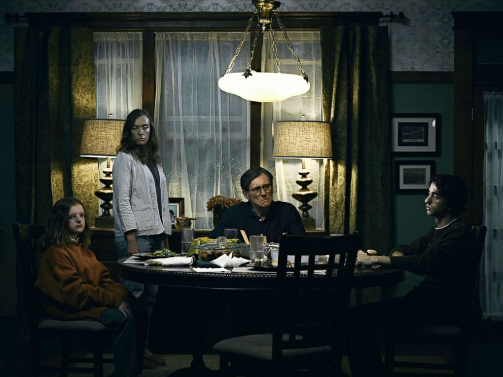 PHOTO: Milly Shapiro, Toni Collette, Gabriel Byrne and Alex Wolff in a scene from Hereditary.