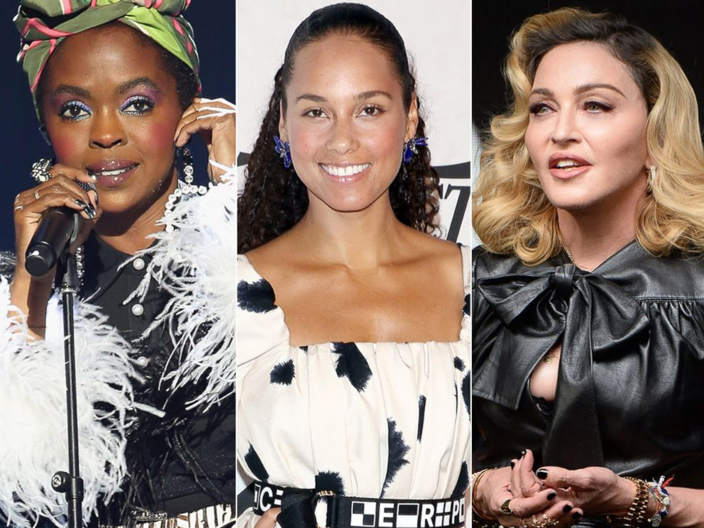 PHOTO: Lauryn Hill at the Rock & Roll Hall of Fame Induction Ceremony, April 14, 2018, in Cleveland, Ohio | Alicia Keys at Cipriani Wall Street, April 13, 2018, in New York City | Madonna at Ludlow House, Sept. 26, 2017, in New York City.