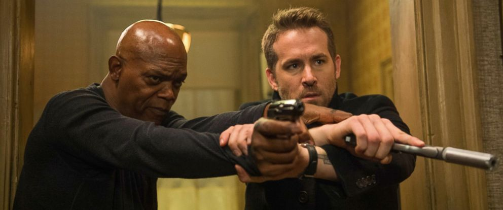 "PHOTO: Samuel L. Jackson and Ryan Reynolds in ""The Hitmans Bodyguard,"" 2017."