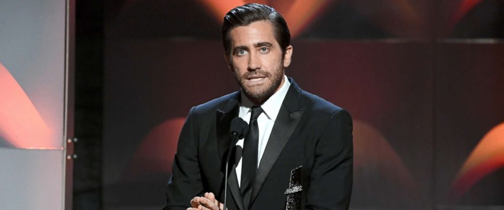 "PHOTO: Jake Gyllenhaal accepts the Hollywood Actor Award for ""Stronger"" during the 21st Annual Hollywood Film Awards, Nov. 5, 2017, in Beverly Hills, Calif."