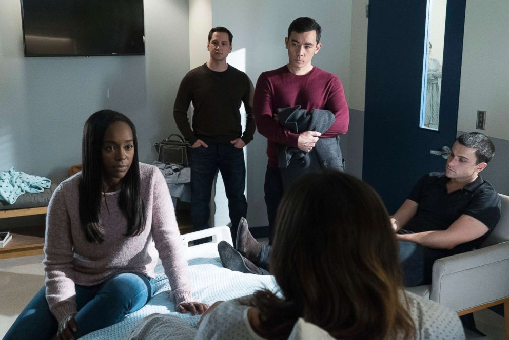 PHOTO: Aja Naomi King, left, Matt McGorry, Conrad Ricamora, Jack Falahee, and Karla Souza in a scene from How to Get Away with Murder.