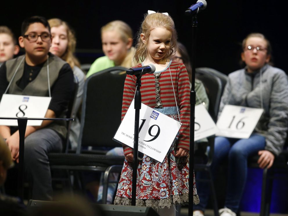 PHOTO: No.19 Edith Fuller, 5, spells a word during the 2017 Scripps Green Country Regional Spelling Bee in Tulsa, Okla., March 4,2017, she eventually won the competition.