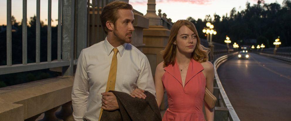 "PHOTO: Ryan Gosling and Emma Stone appear in a scene from the 2016 film ""La La Land."""