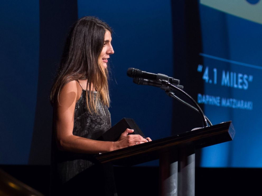 PHOTO: Daphne Matziaraki, winner of the gold medal in the documentary film category for 4.1 Miles, during the 43rd Annual Student Academy Awards on Sept. 22, 2017 in Beverly Hills, Calif..