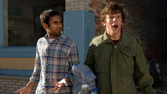 """PHOTO:Jesse Eisenberg and Aziz Ansari star in the new movie """"30 minutes or Less""""."""