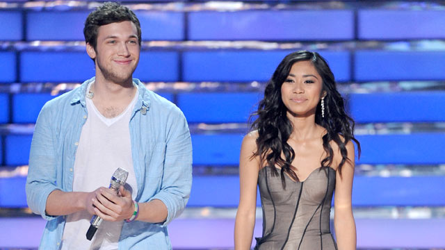 PHOTO: Phillip Phillips and Jessica Sanchez seen on the on American Idols finale night, May 22 2012.