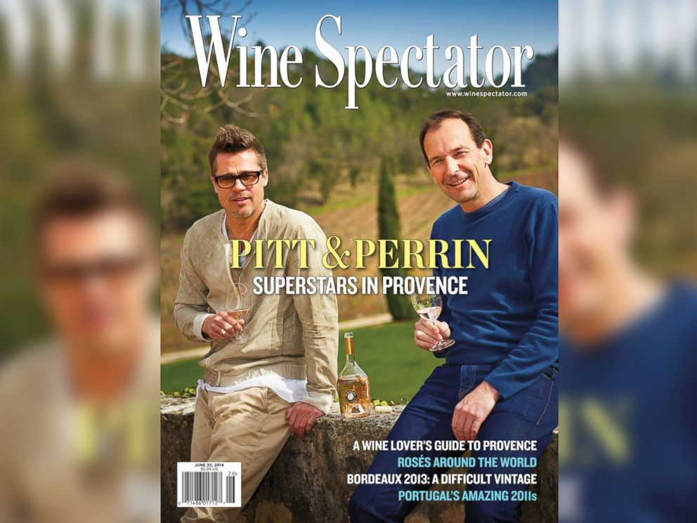 PHOTO: Bradd Pitt appears with Marc Perrin on the cover of the June 30, 2014 issue of Wine Spectator magazine.