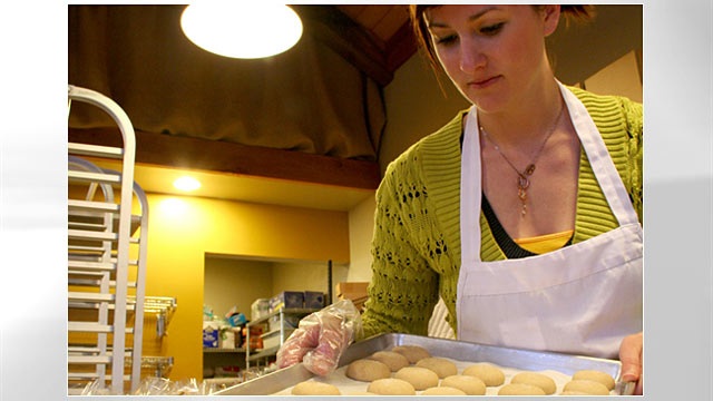 PHOTO: A girl is shown here baking cookies for the Brown Butter Cookie Company.