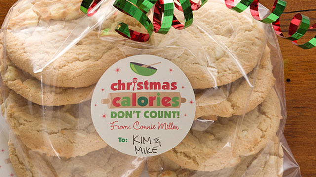 PHOTO: The Personalization Mall's cookie packaging stickers are shown here.