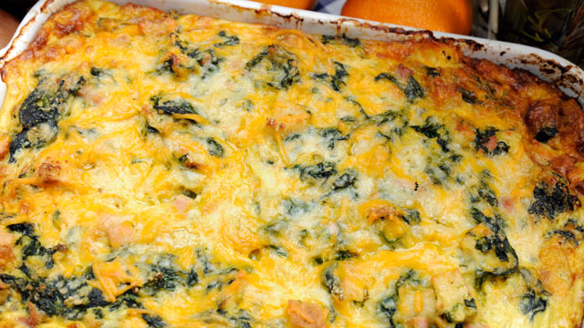 emerils spinach ham and cheese breakfast casserole recipe abc news
