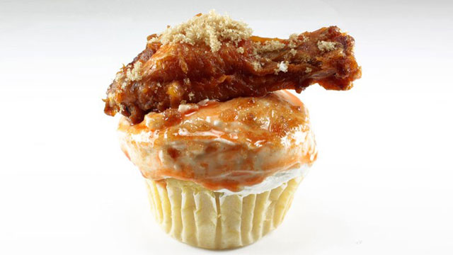 PHOTO: Coccadotts Cake Shop is selling a cupcake made of cornbread and bleau cheese frosting with a chicken wing on top.