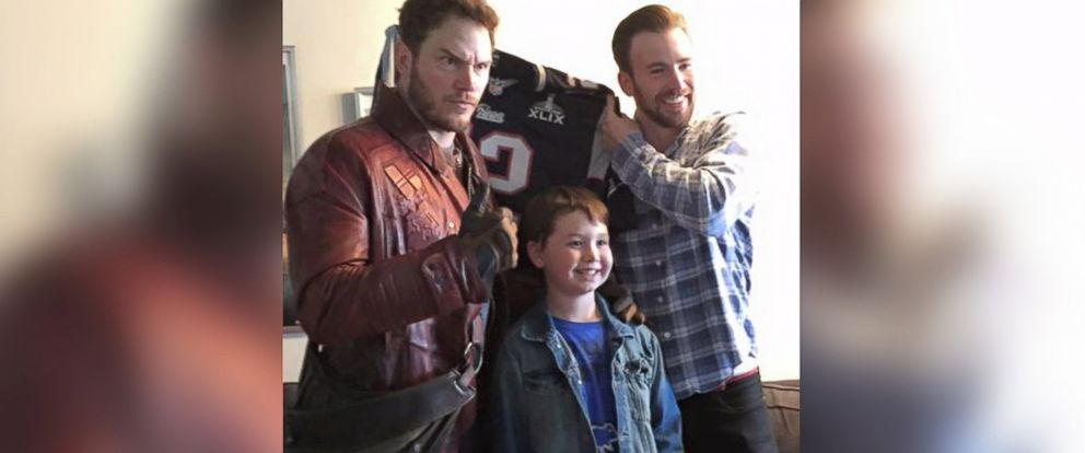 PHOTO: Actors Chris Pratt and Chris Evans visit with a child at Christophers Haven in Boston, Mass. in a photo posted to Pratts Facebook page on Feb. 6, 2015.