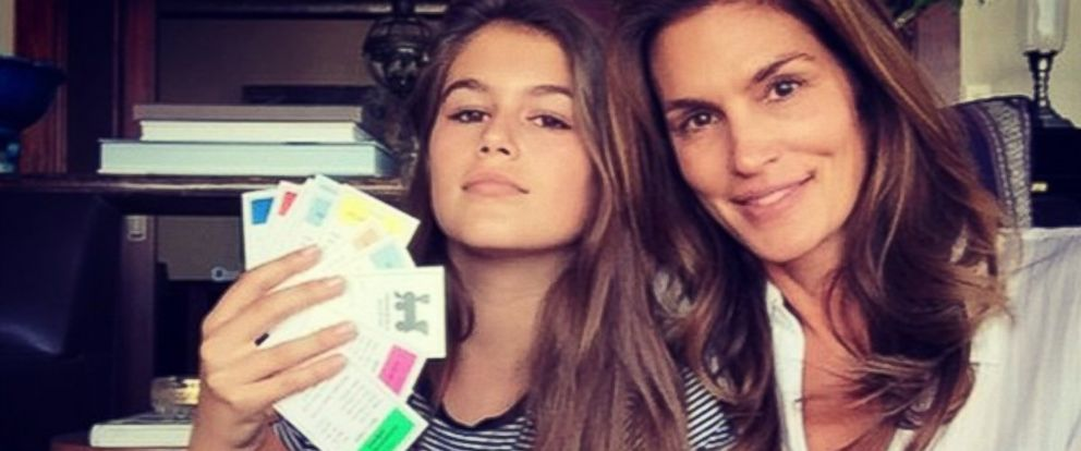 """PHOTO: Cindy Crawford posted this photo on Instagram with this caption: """"kaiajordan just destroyed me in #monopoly. #oldschoolfun,"""" Oct. 22, 2014."""