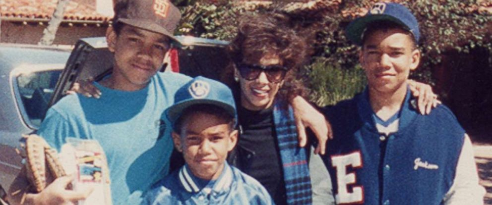 "Delores ""Dee Dee"" Jackson (center) is seen here with her three sons, TJ, Taj and Taryll Jackson, in this undated family photo."