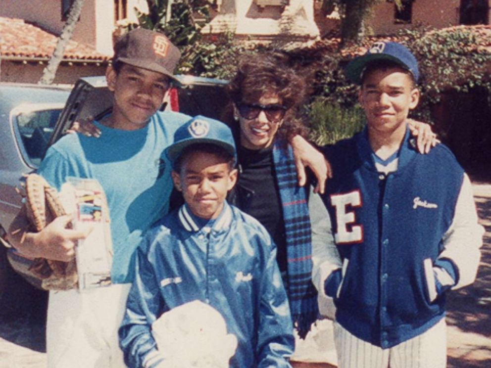 Delores Dee Dee Jackson (center) is seen here with her three sons, TJ, Taj and Taryll Jackson, in this undated family photo.