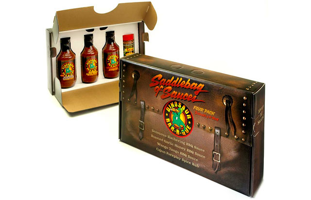 PHOTO: Dinosaur Bar-B-Que's saddlebag sauce set is shown here.