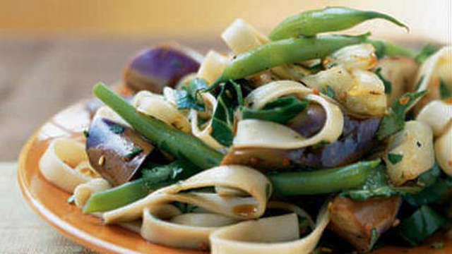 PHOTO: Cooking Light's eggplant and onion noodle salad with warm soy-rice vinaigrette is shown here.