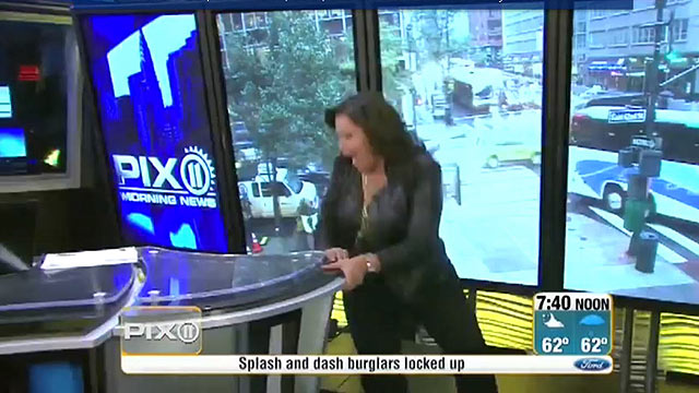 PHOTO:WPIX anchor Frances Rivera falling in her high heels on live television.
