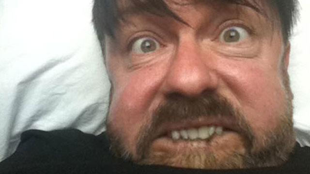 PHOTO: Ricky Gervais is pictured making a face on his blog in this June 2011 file photo.