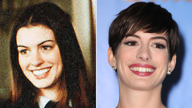 """PHOTO:Anne Hathaway is shown in a scene from """"The Princess Diaries,"""" left, and again Jan. 13, 2013."""