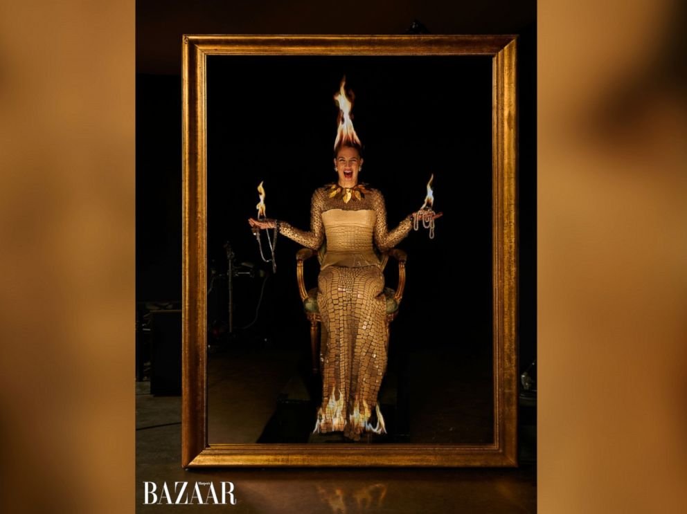 Drew Barrymore in the March issue of Harpers Bazaar.