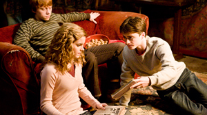"""PHOTO In this image released by Warner Bros., Emma Watson, center, Daniel Radcliffe, right, and Rupert Grint are shown in a scene from """"Harry Potter and the Half-Blood Prince."""""""