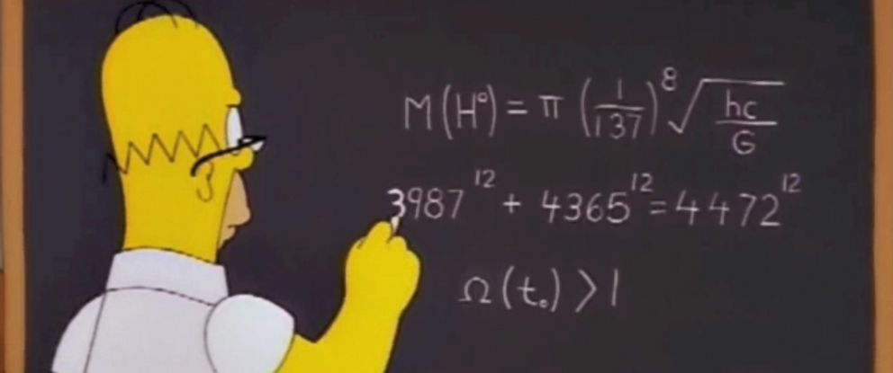 "PHOTO: Homer Simpson appears to predict the mass of the Higgs boson particle in a grab made from a 1998 episode of ""The Simpsons."""