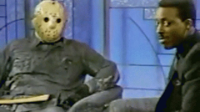 PHOTO: Arseenio interviews Jason Voorhees