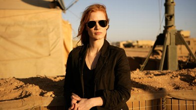 """PHOTO: Jessica Chastain playing a member of the elite team of spies and military operatives stationed in a covert base overseas who secretly devoted themselves to finding Osama Bin Laden in Columbia Pictures' gripping new thriller, """"Zero Dark Thirty."""""""