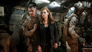 PHOTO: Stationed in a covert base overseas, Jessica Chastain (center) plays a member of the elite team of spies and military operatives who secretly devoted themselves to finding Osama Bin Laden in Columbia Pictures' electrifying new thriller directed by