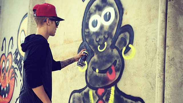 PHOTO: Justin Bieber posted this photo spraying graffiti to his Instagram account.