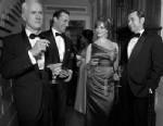 PHOTO: Roger Sterling (John Slattery), Don Draper (Jon Hamm), Joan Harris (Christina Hendricks) and Pete Campbell (Vincent Kartheiser) pose for AMCs tv show Mad Men, Season 6.
