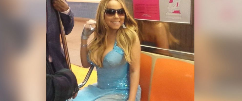 """PHOTO: Mariah Carey posted this photo to her Instagram on May 30, 2014 with the caption, """"Glimpses of our joyride on the 1 train #subwayincouture."""""""
