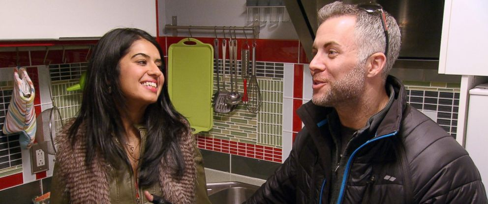 """PHOTO: Davina Kullar, left, and Sean Varricchio, right, are pictured in a scene from """"Married at First Sight."""""""