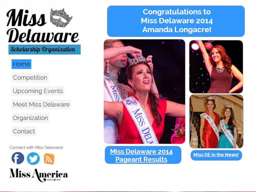 PHOTO: The Miss Delaware Scholarship Organization website, www.missde.org, showing Amanda Longacres crowning is seen in a grab made from Google Cache on June 27, 2014.
