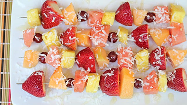 PHOTO: Erin Chase's fruit kebabs are shown here.