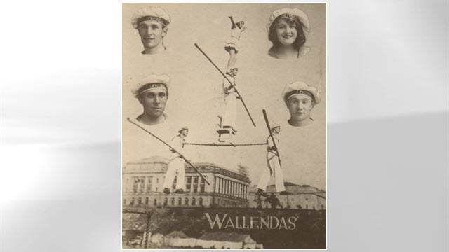 PHOTO: A poster advertising Karl Wallenda's circus troupe. Clockwise from the top left are Karl Wallenda, Helen Wallenda, Joe Geiger and Herman Wallenda.