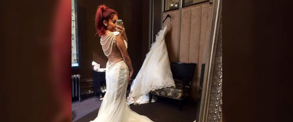"""PHOTO: Nicole Polizzi, known as Snooki, posted this self-portrait to her Facebook page on May 29, 2014 with the caption, """"My wedding dress update..."""""""